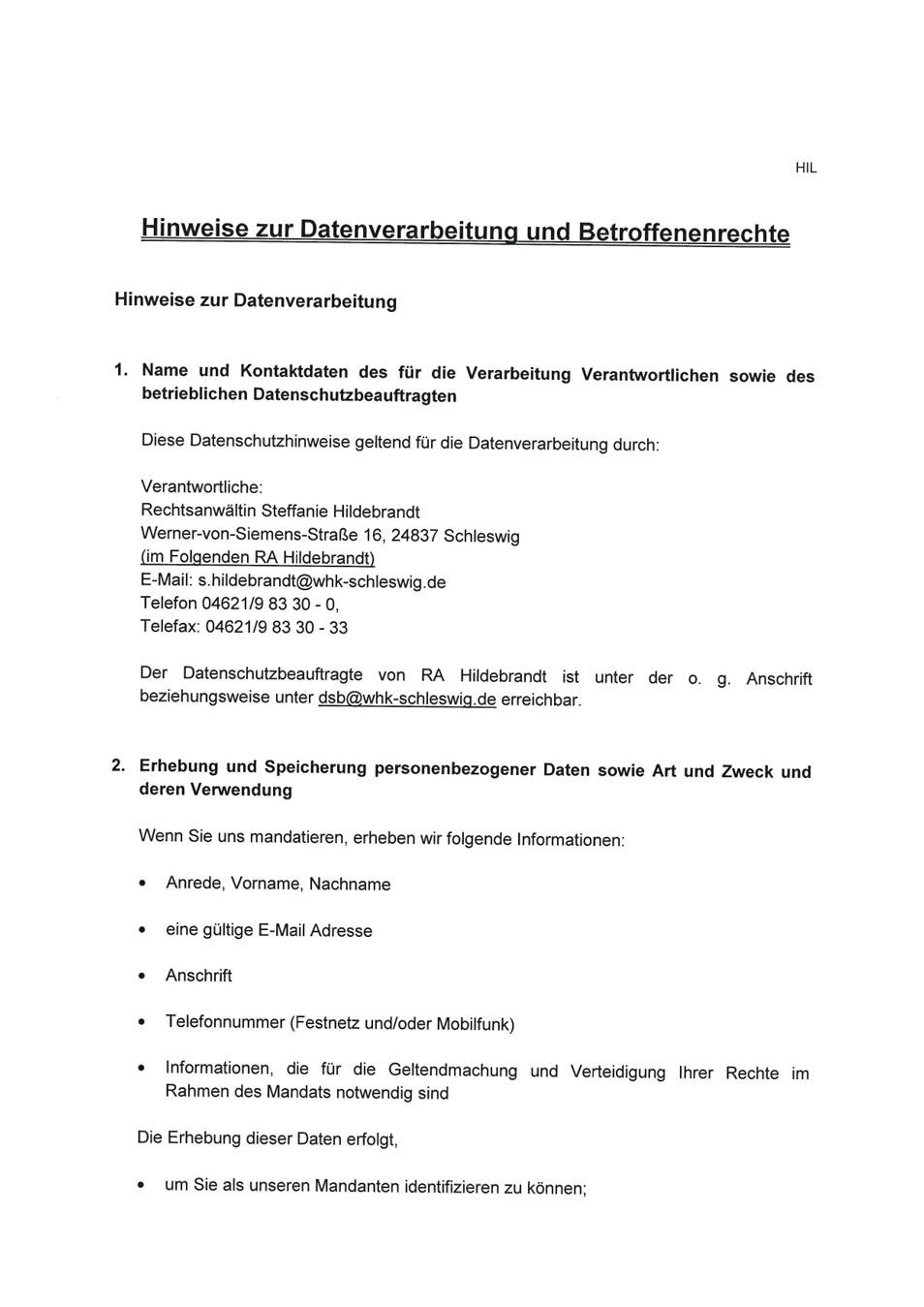 Datenverarbeitung Steffanie Hildebrandt Rechtsanwaeltin