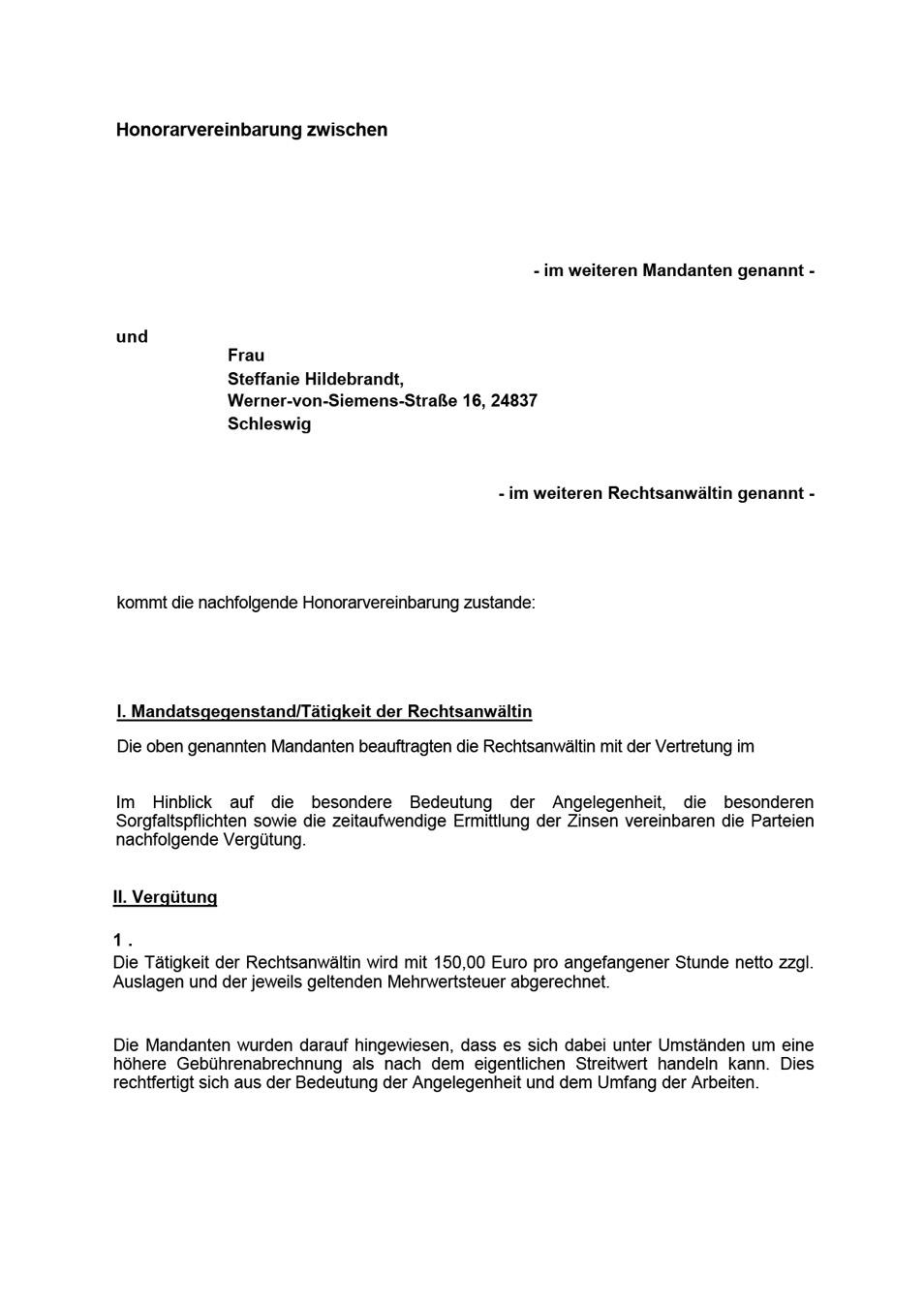 Honorarvereinbarung Steffanie Hildebrandt Rechtsanwaeltin