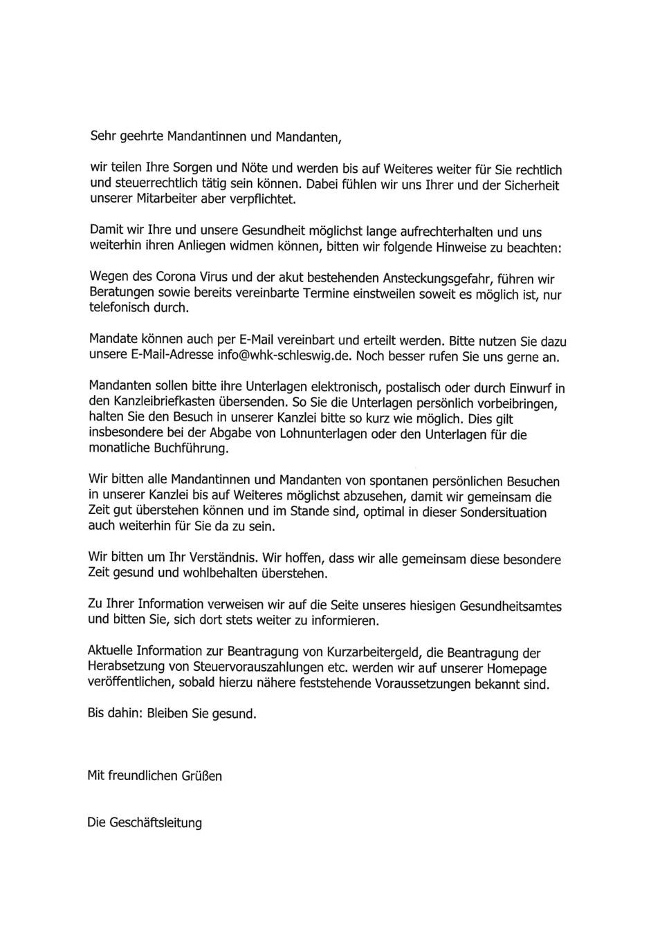 Mandantenrundschreiben Covid19 Weitkamp med Steuerberatungsgesellschaft mbH