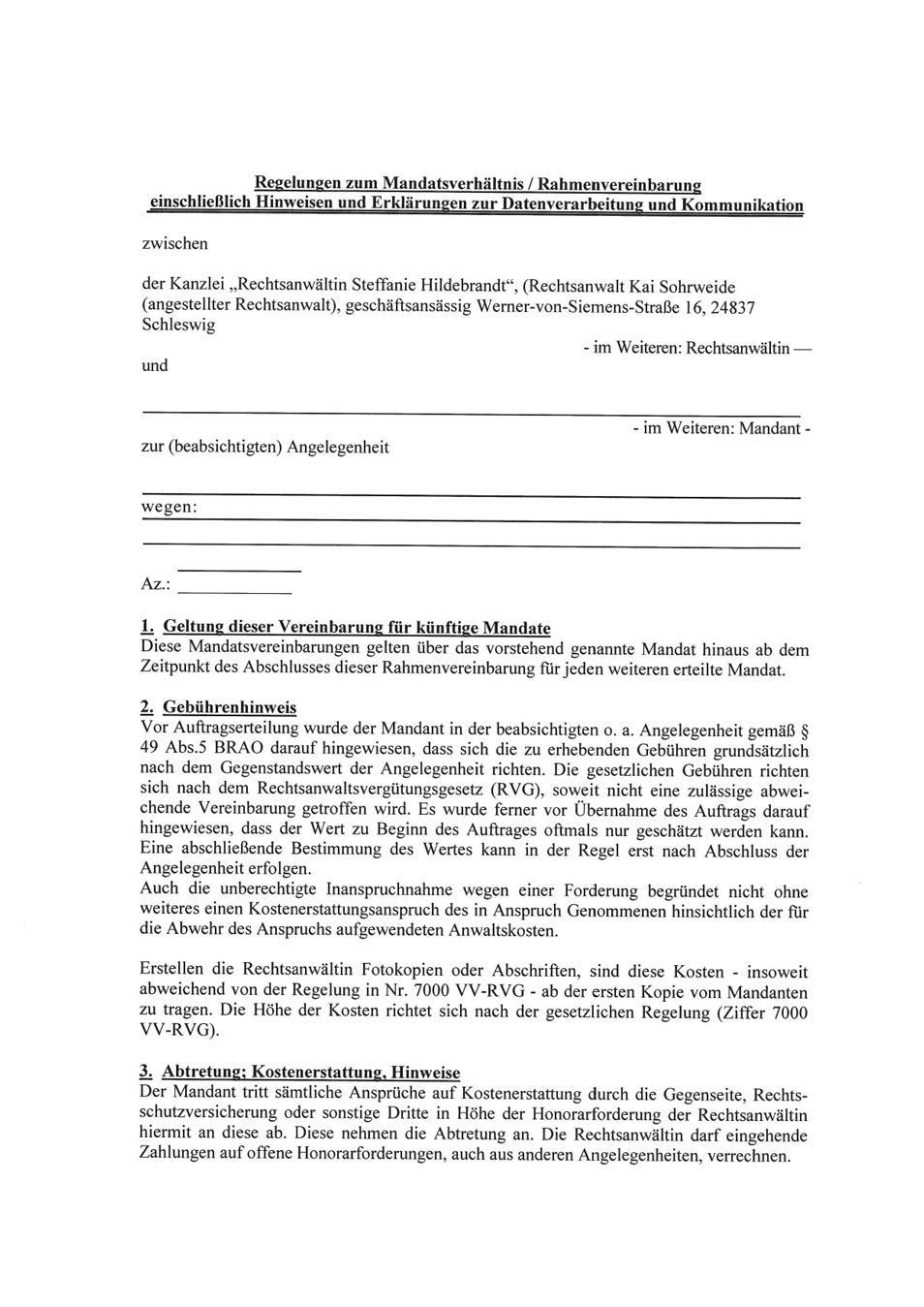 Regelungen zum Mandatsverhaeltnis Rahmenvereinbarungen Steffanie Hildebrandt Rechtsanwaeltin